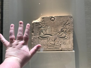 Amarna relief with my hand for scale. SO TINY (Neues)